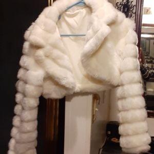 White fur half coat.
